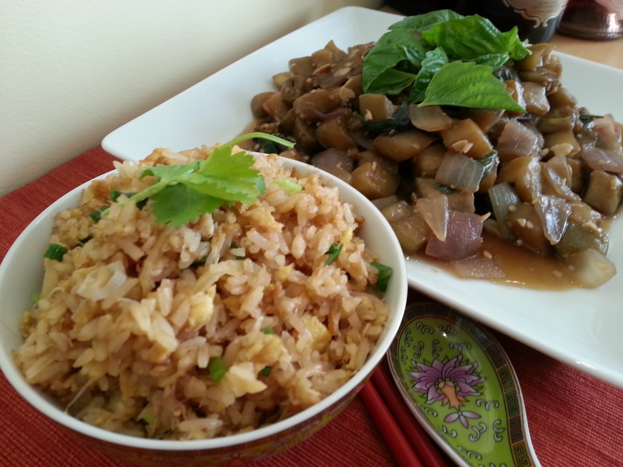 thai fried rice with eggplant
